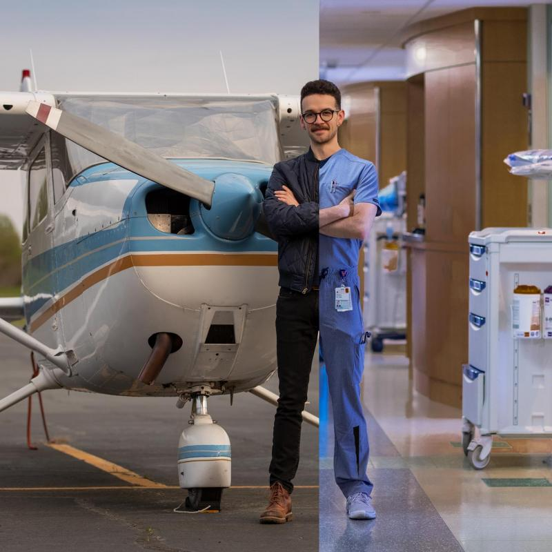 Though Sidney St. Clair found in nursing a career that satisfied his passion for hard science and his love of human connections, he still finds to time to fly as an escape.