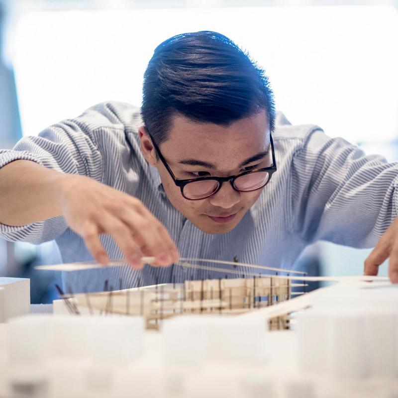 David Shim will graduate in May with a degree in architecture, where he has impressed professors with his attitude and ability to quickly catch up after transferring in.