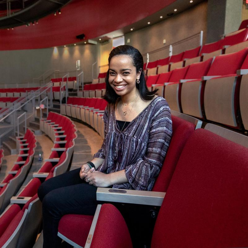 Third-year Jessica Harris, graduating this May, applies her studies and artistic experiences to her work as the director of a theater non-profit.