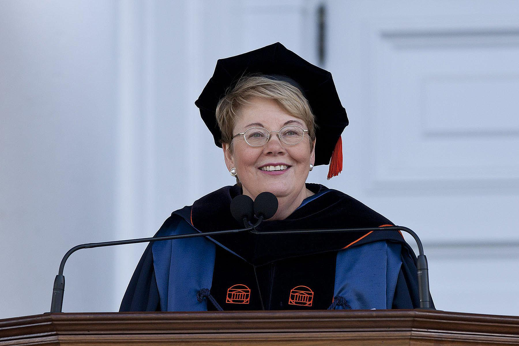 Teresa A. Sullivan speaks at her 2011 inauguration. (Photo by Dan Addison, University Communications)