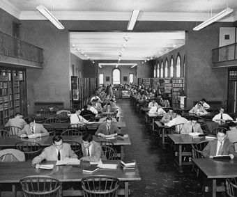 This undated photo of the Law Library in Clark Hall demonstrates what the male-dominated law school environment was like circa 1950.