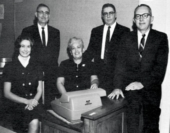 Ruth Taliaferro is seated center next to Willard Leeper, second from left, who surpassed her to head the department, despite her complaints that she was more qualified.
