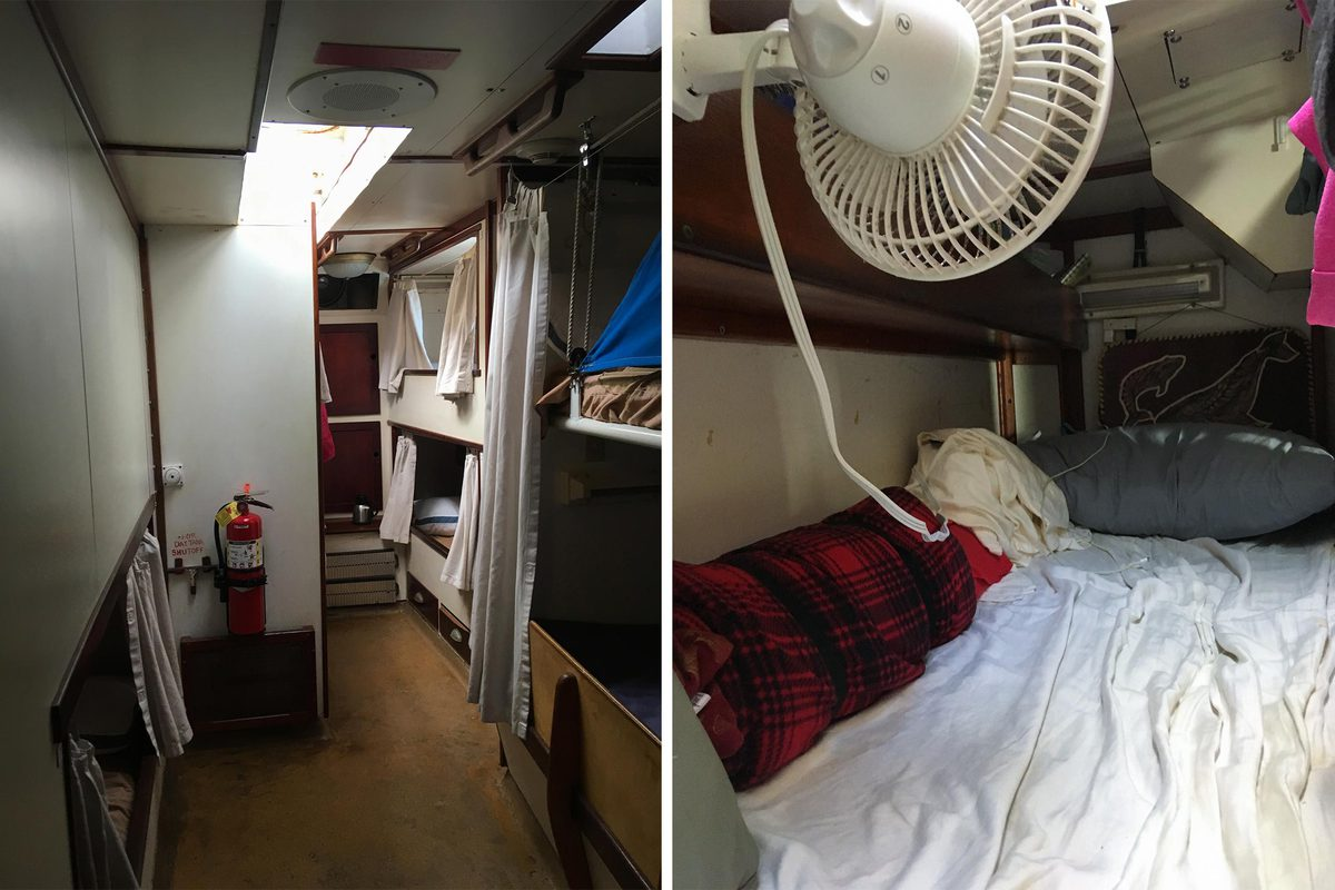 The tight living quarters aboard the ship.