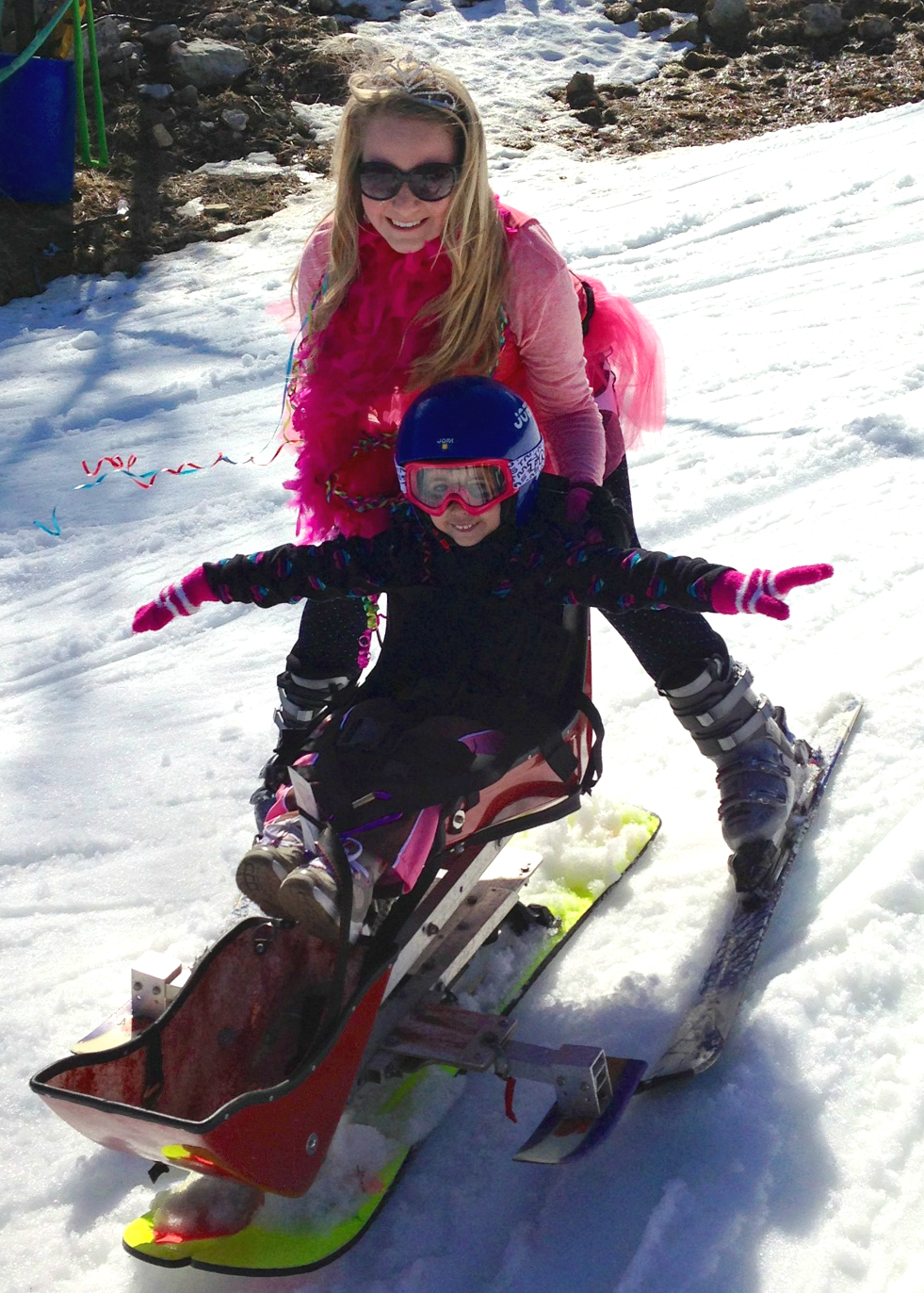 Bruno, skiing with a young client. Bruno coordinated UVA's adaptive ski program through Madison House.