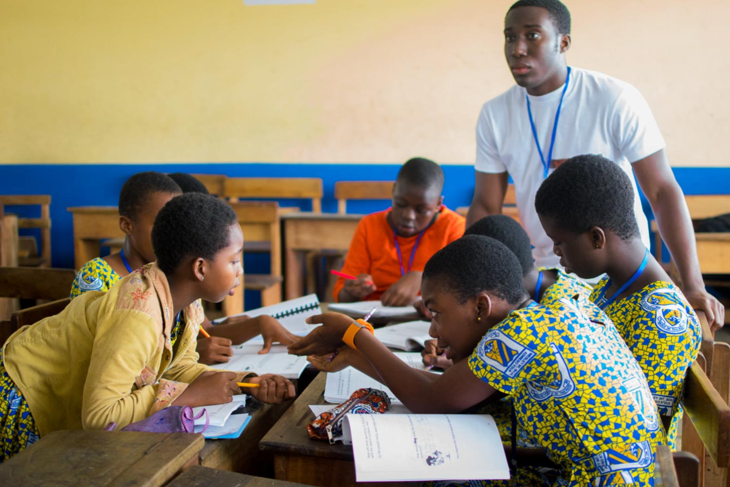 When not working on the telemedicine project, Ted Obi, the son of parents who emigrated from Nigeria, taught entrepreneurship skills to students at Wesley International School in Ghana.