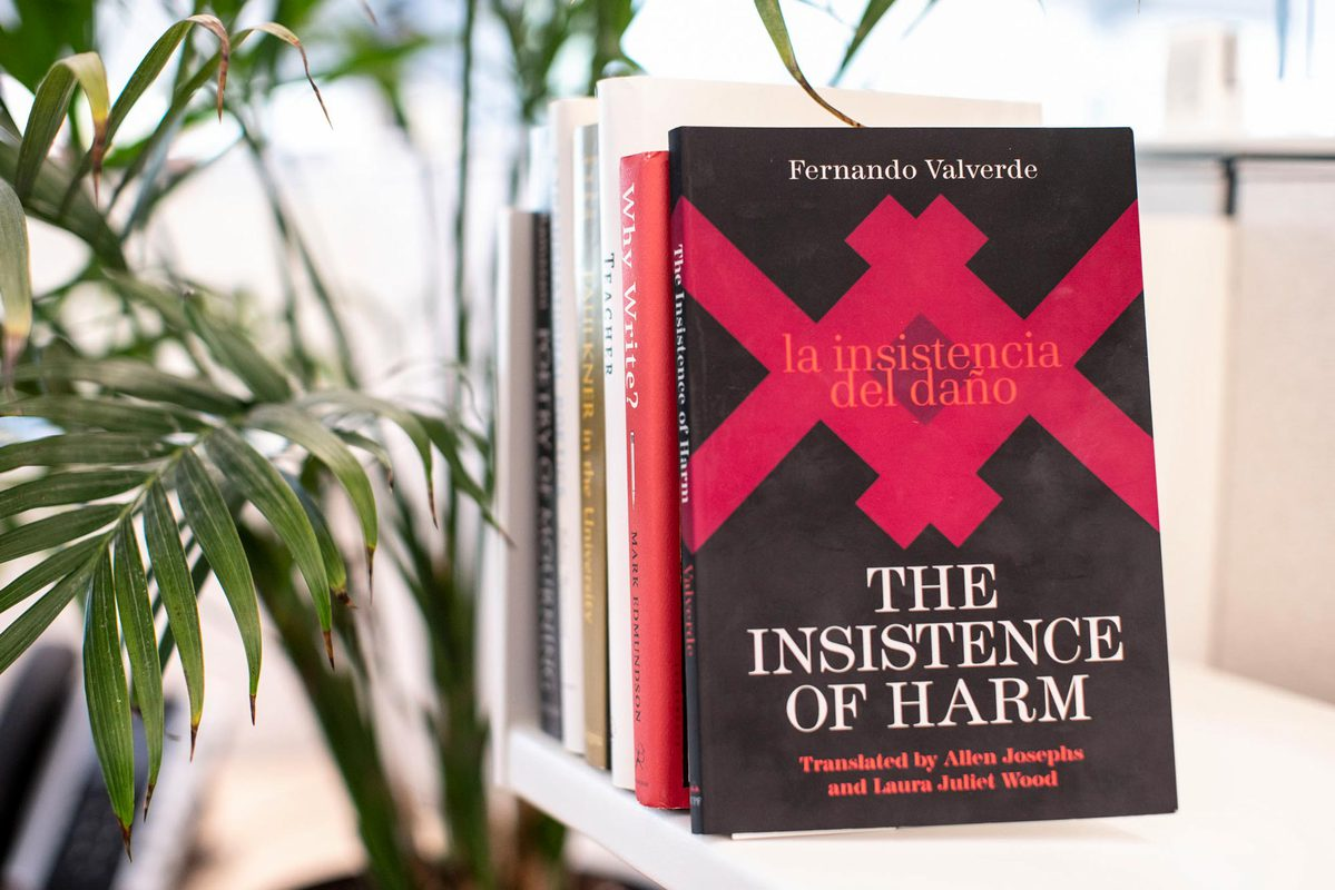 """Valverde's last book, """"The Insistence of Harm,"""" received the Book of the Year award from the Latino American Writers Institute of the City University of New York."""