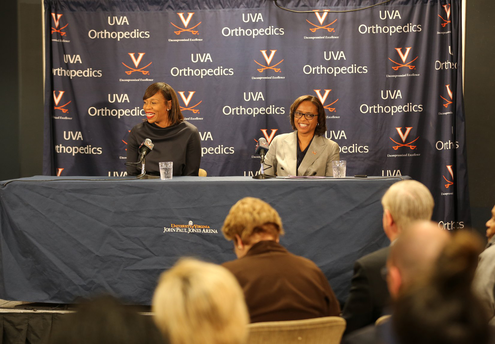 Tina Thompson, left, sat with Athletic Director Carla Williams on Wednesday.