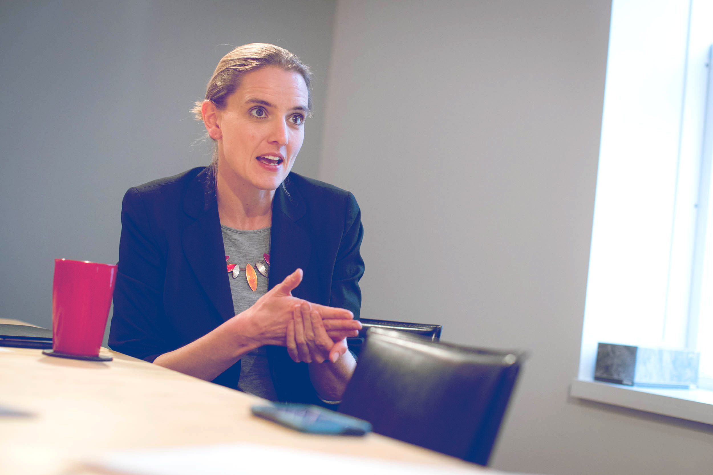 Megan Juelfs-Swanson, Thriving Cities' data analyst, led the Indicator Explorer project. (Photo by Sanjay Suchak, University Communications)