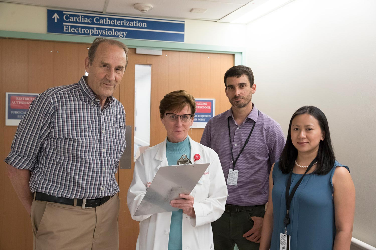 The research team drew from both allergists and cardiologists, and included, from left, Dr. Thomas Platts-Mills, Dr. Coleen McNamara, Dr. Jeff Wilson and Anh Nguyen.