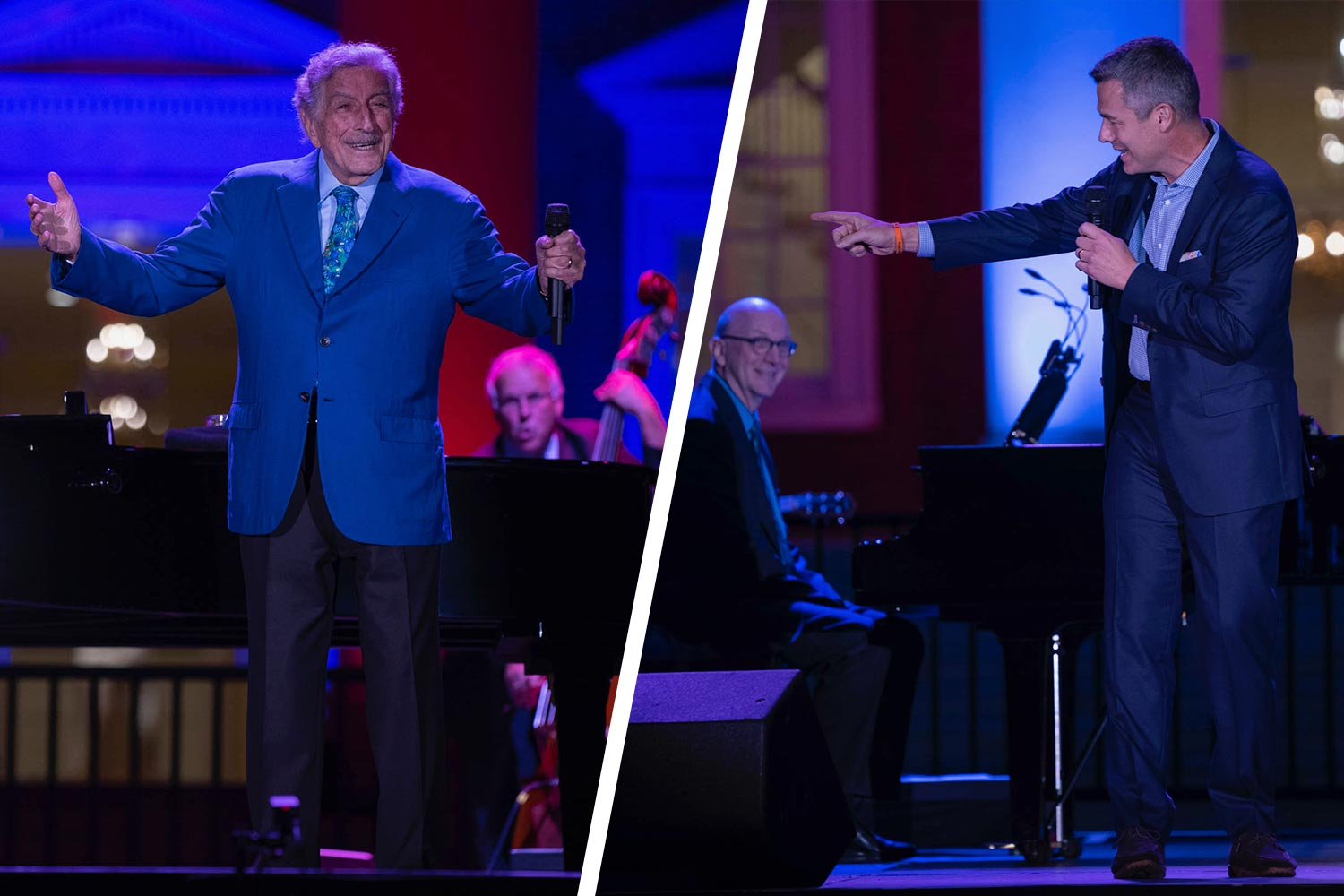 Double trouble? Tony Bennett the singer met Tony Bennett the coach on the Lawn Saturday night. (Photos by Sanjay Suchak, University Communications)