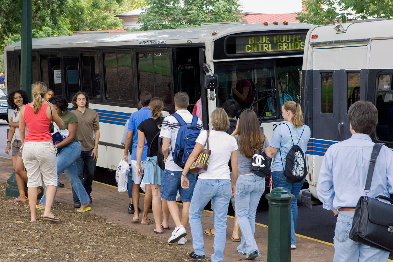 Most students walk to Grounds then use the University Transit System buses to move around.
