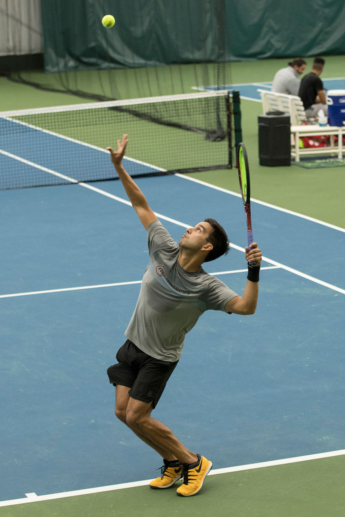 A strong serve has helped Huey have success as a professional.