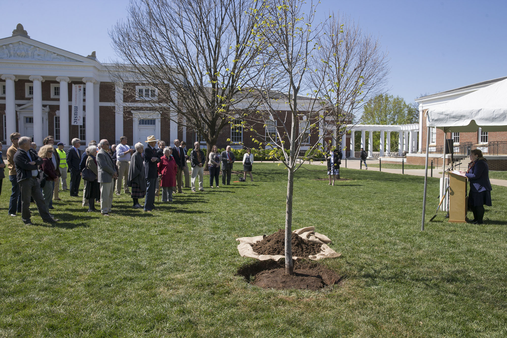 UVA President Teresa A. Sullivan addresses the crowd at the tree-planting ceremony, held Wednesday on the lower Lawn.