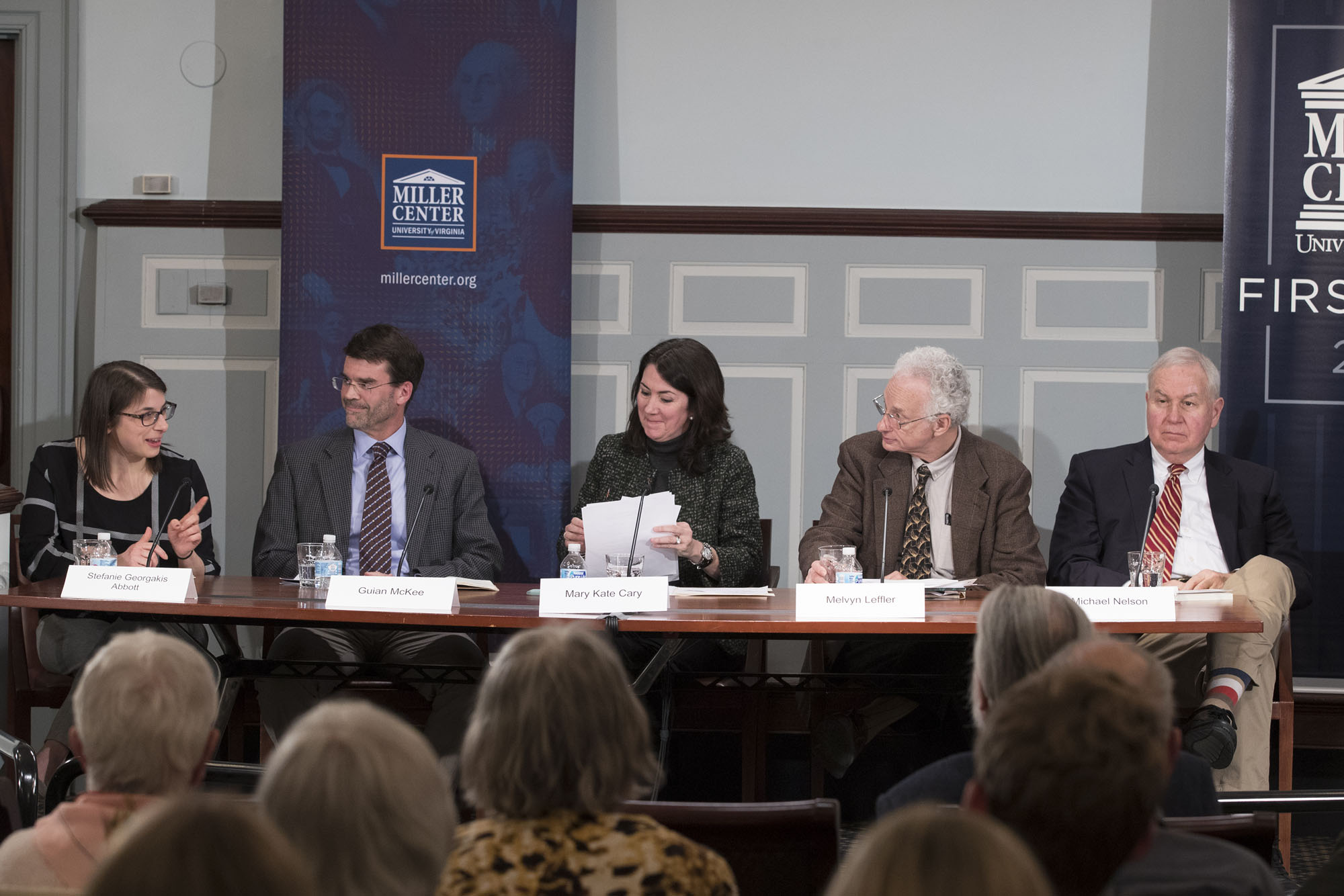From left to right, moderator Stefanie Georgakis Abbott and panelists Guian McKee, Mary Kate Cary, Melvyn Leffler and Michael Nelson. (Photo by Dan Addison, University Communications)