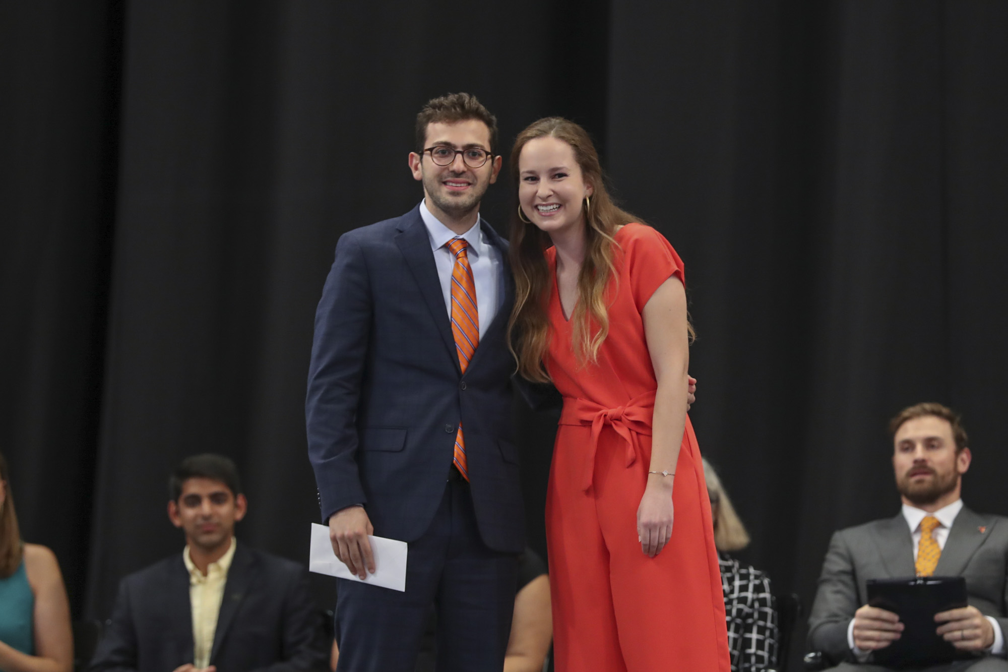 The Seven Society awarded its James Earle Sargeant Award to Tuff Armenia Project, which was accepted by its founder, graduating engineering student Leon Yacoubian. Kirby Evett, trustee of the Class of 2018, presented the award.