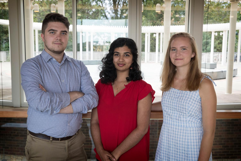 From left, Tyler Gaedecke, Anjali Kapil and Natalie LaRoe serve on the Student Health Advisory Committee.