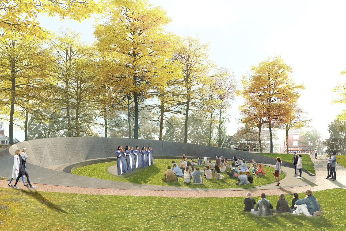 The Memorial to Enslaved Laborers, located east of the Rotunda near Brooks Hall, is currently under construction, with a public dedication ceremony scheduled for April 11. (Image courtesy Höweler+Yoon)