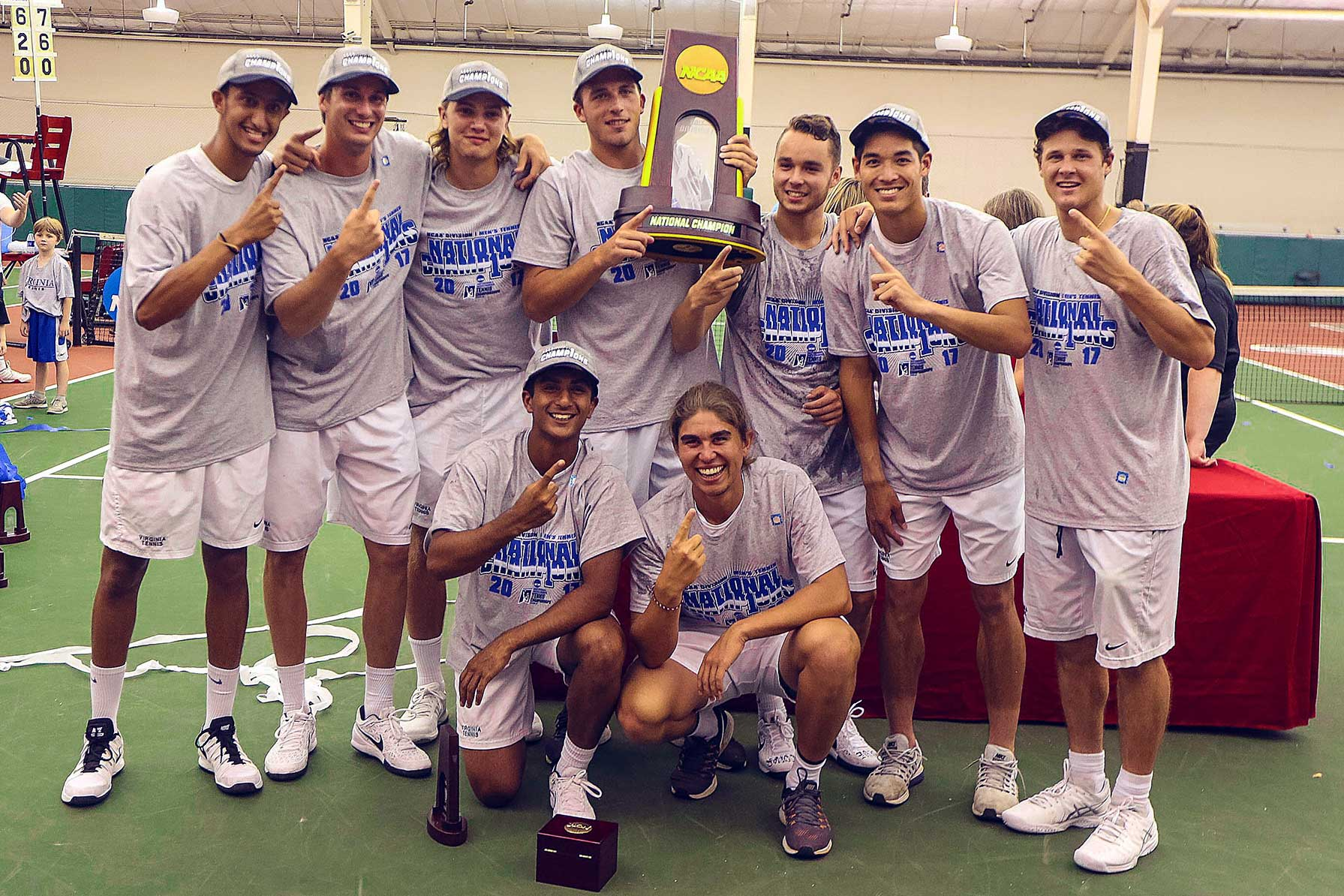 The Cavalier men's tennis team's third straight national title catapulted UVA to No. 19 in the all-sports rankings. (UVA Athletics photo)