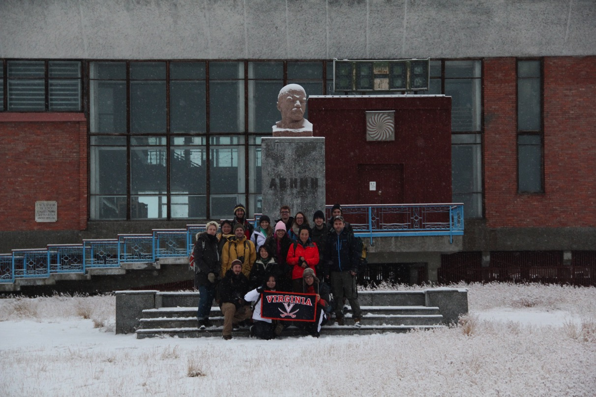 Fourteen UVA architecture and landscape architecture students made the trip to Lonyearbyen, Barentsburg and Pyramiden – administrative, mining and ghost towns, respectively – in Svalbard. This photo was taken in front of the Culture House in Pyramiden.