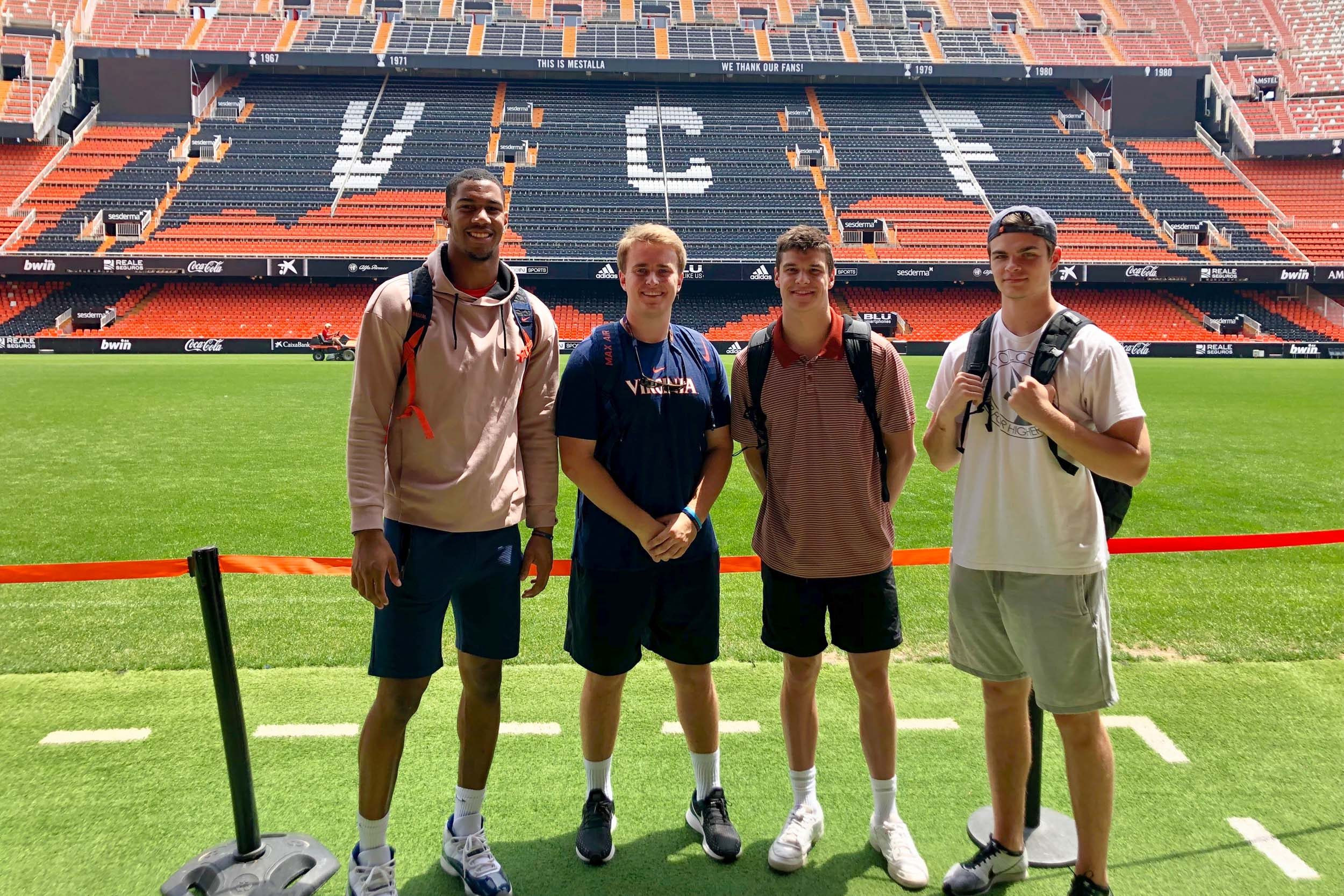 Left to right, Charles Snowden, Lee Dudley, Justin Grender and Cole Lytle at the Valencia CF stadium.