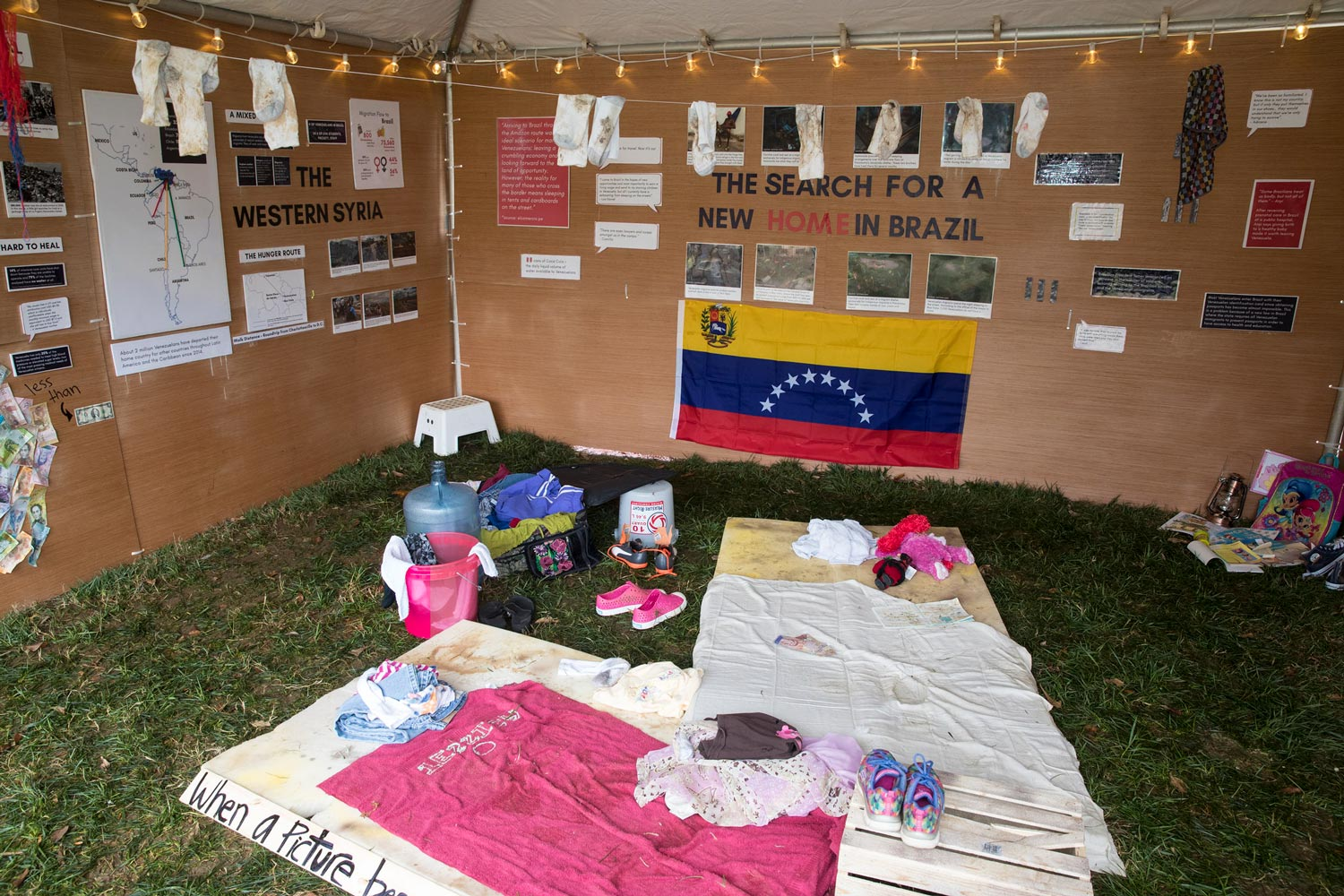The purpose of the tent is to educate the community about the current humanitarian and migration crisis in Venezuela and Brazil.