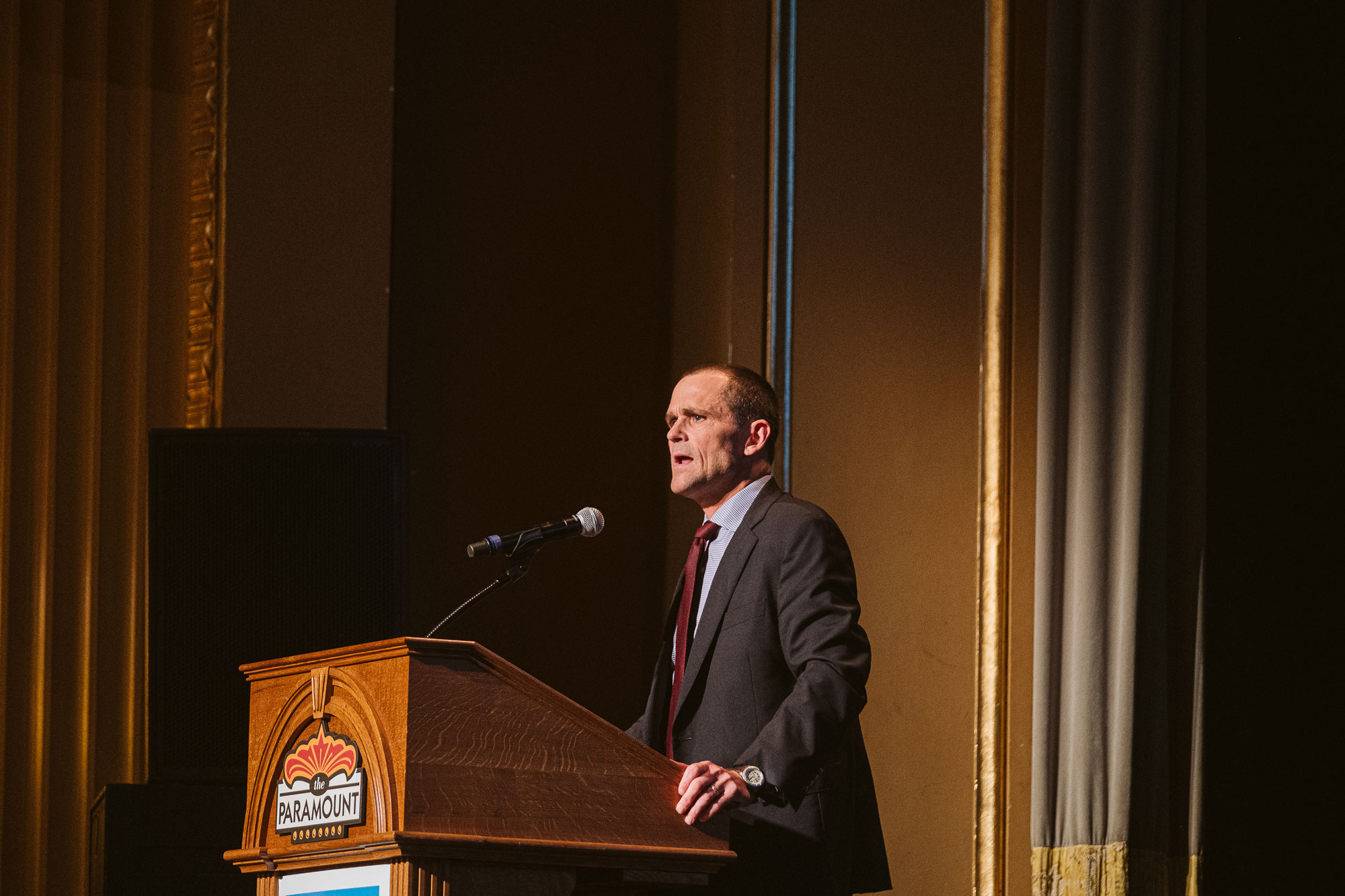 UVA President Jim Ryan introduced the film, calling lawyer Bryan Stevenson one of his heroes. (Photo by Eze Amos)