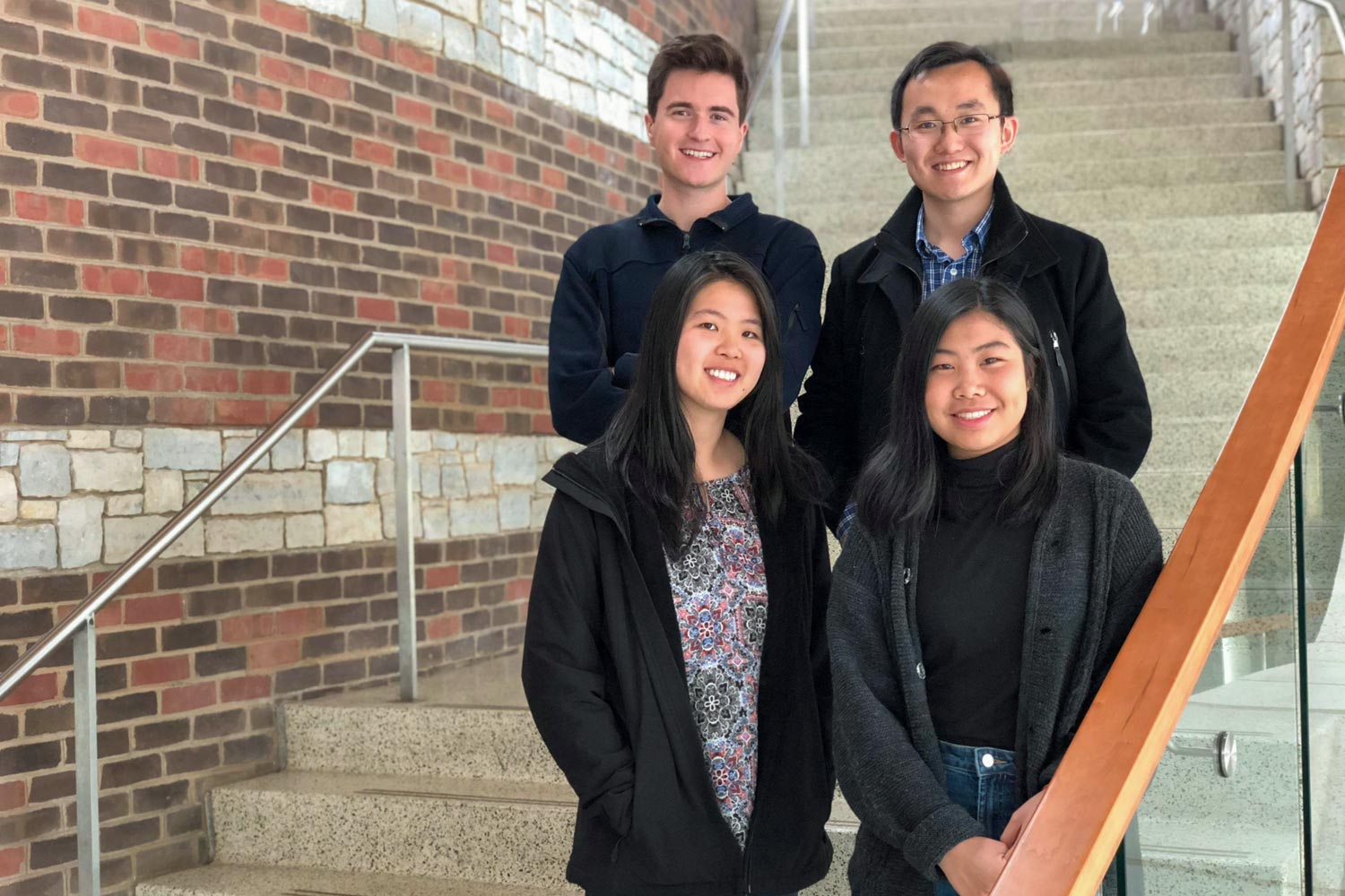 Clockwise from top left, students Jackson Samples, Eric Xu, Eileen Ying and Irena Huang lead the Executive Board of the Virginia Review of Politics.