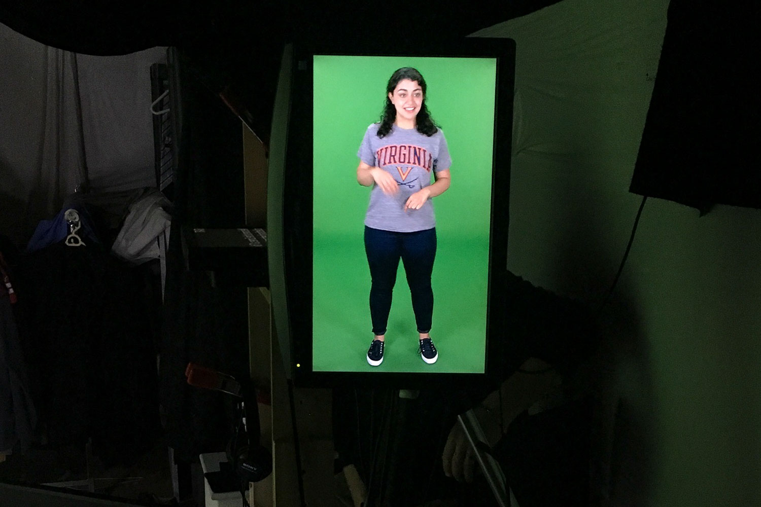This Class of 2017 student, Kamilia Moalem, stood in front of a green screen to deliver her remarks for the virtual tour.