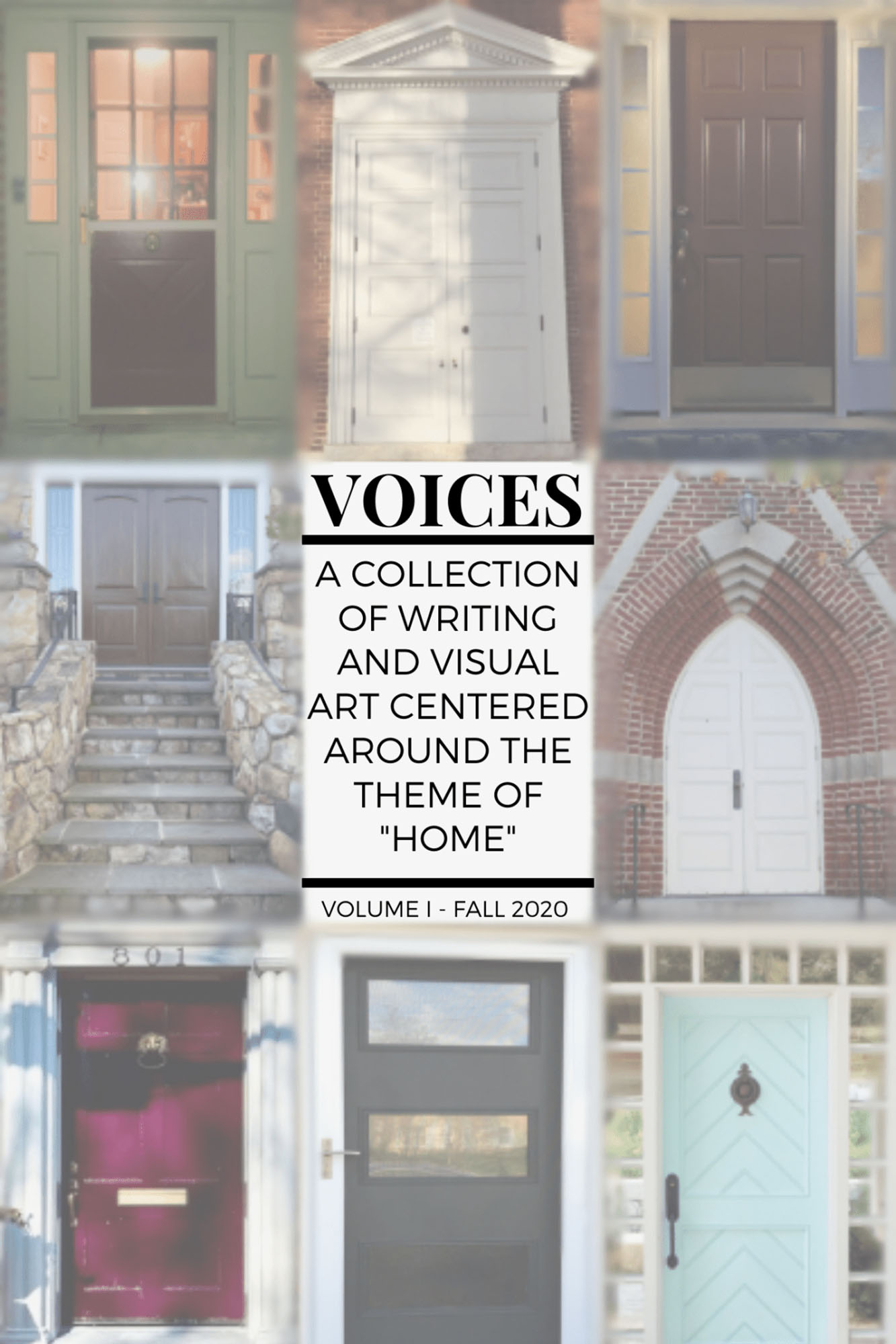 "The cover of a digital journal designed by UVA students: A Collection of Writing and Visual Art Centered Around the Theme of ""Home."""