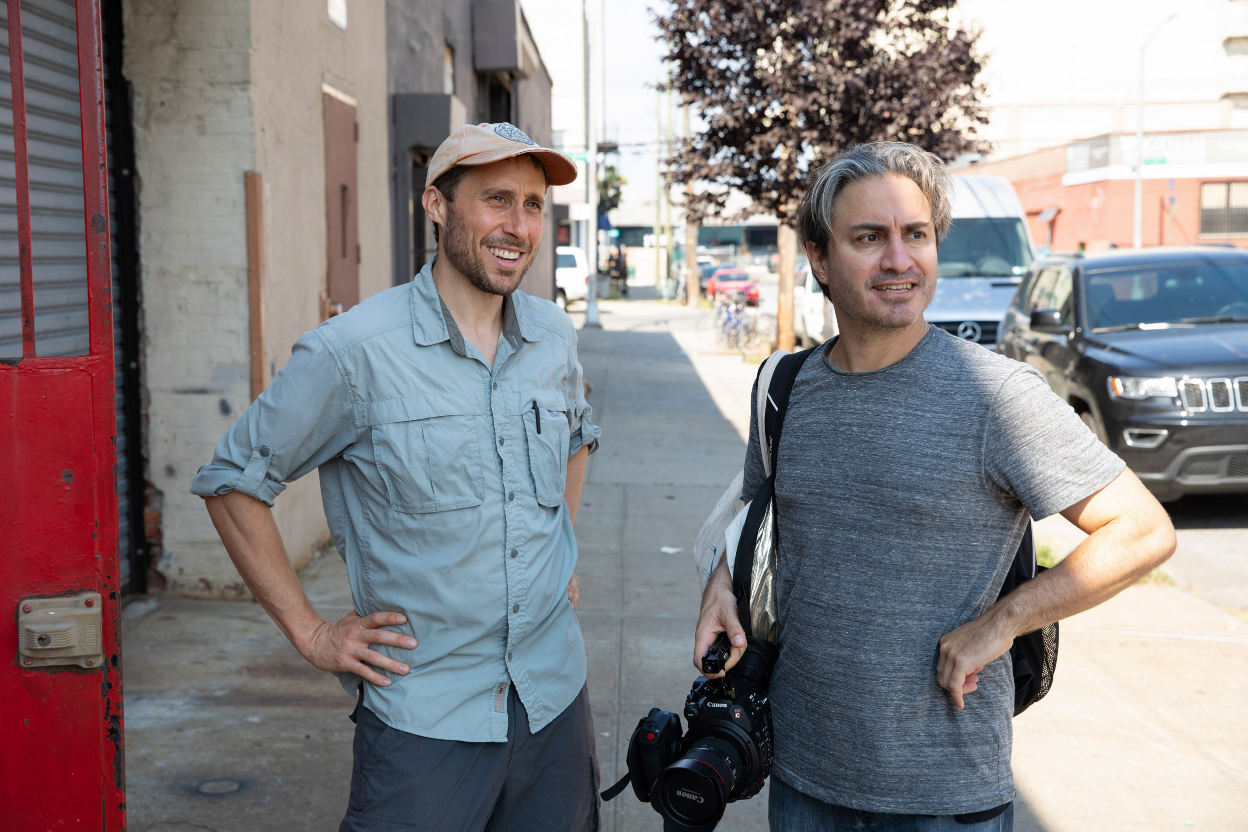Green, left, with his good friend Jeremy Workman, who convinced him to allow a camera on his walks.