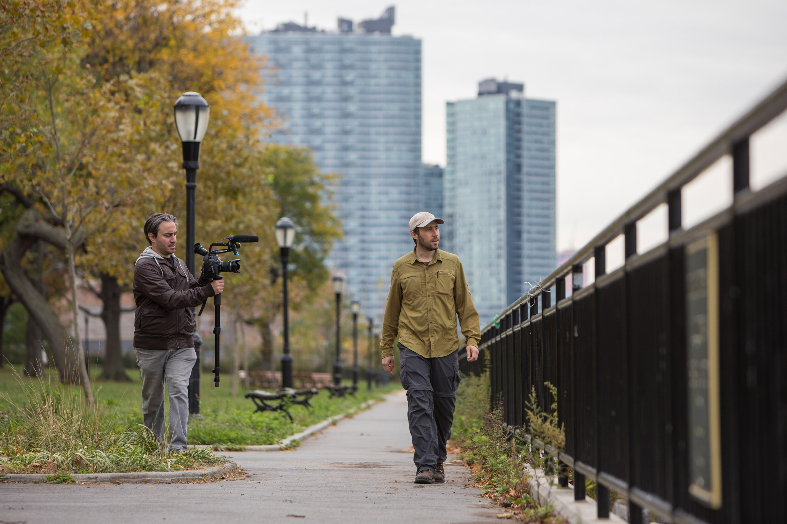 "Matt Green walks in Long Island City, Queens with lone cameraman Jeremy Workman, who directed ""The World Before Your Feet."""
