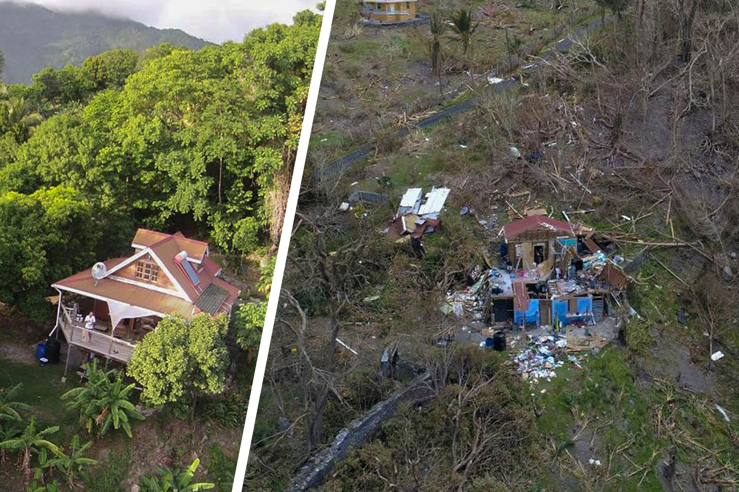 Andrew Walsh's father, Simon, is a photographer and used a drone to take before-and-after photos of their home in the village of Soufriere.