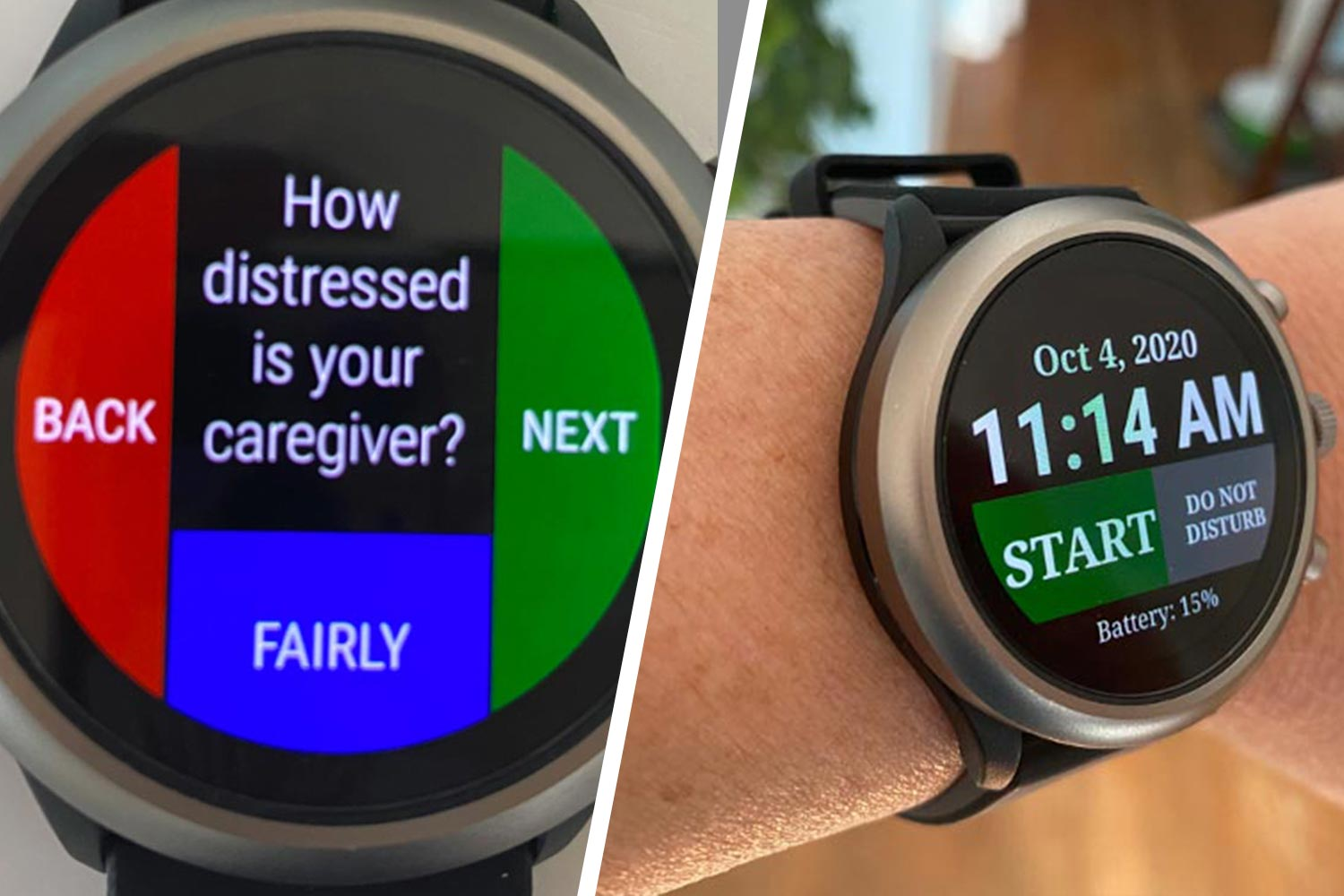 """wearable smart watch sensors asking """"how distressed is your caregiver"""""""
