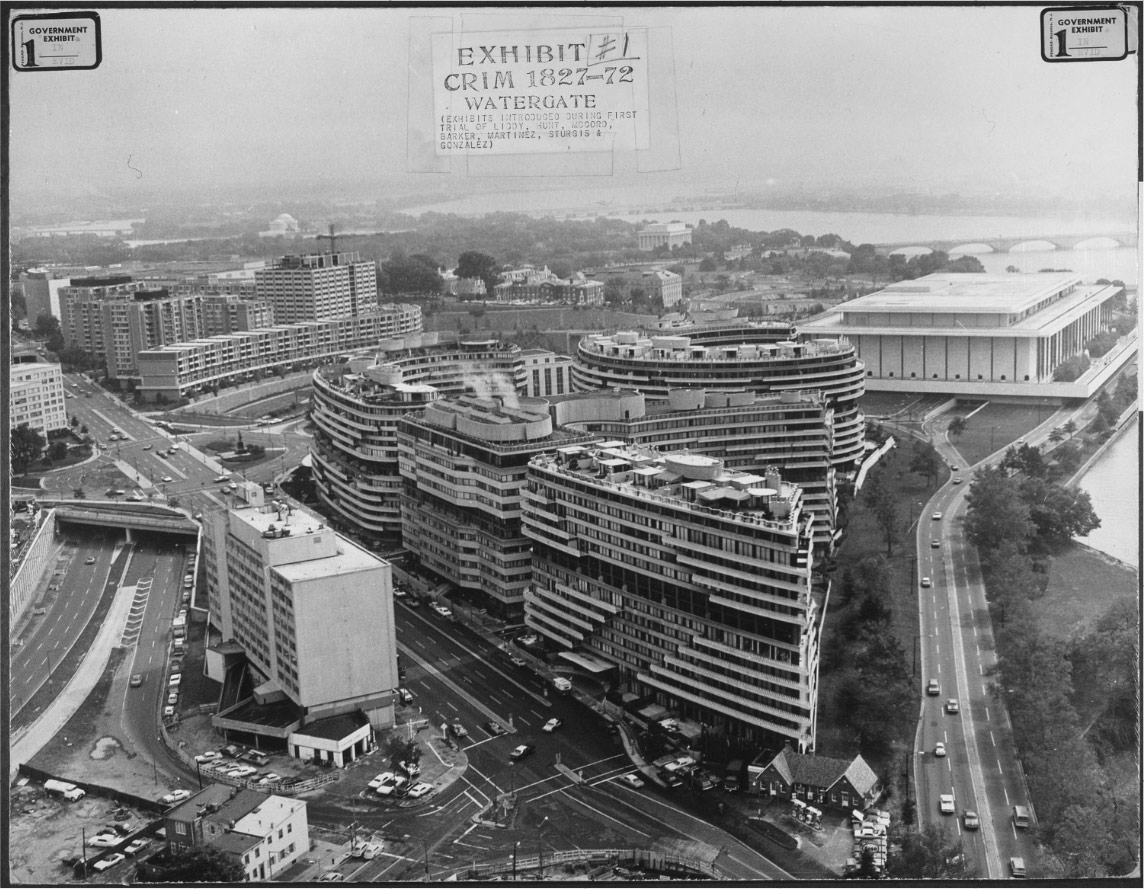 An aerial view of the Watergate Building in Washington, D.C., which housed in 1972 the headquarters of the Democratic National Committee.