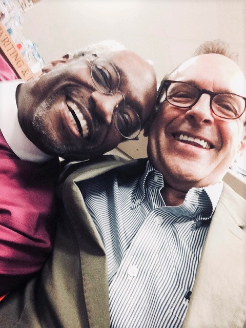 Religious studies professor Charles Marsh, right, with Bishop Michael Curry at St. Paul's Episcopal Church in September.