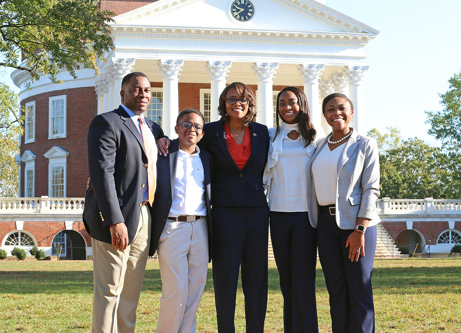 Carla Williams and her husband, Brian, an associate professor of public administration and policy in UGA's School of Public & International Affairs, have three children: daughters Carmen and Camryn, and a son, Joshua. (Photo by Matt Riley, UVA Athletics)