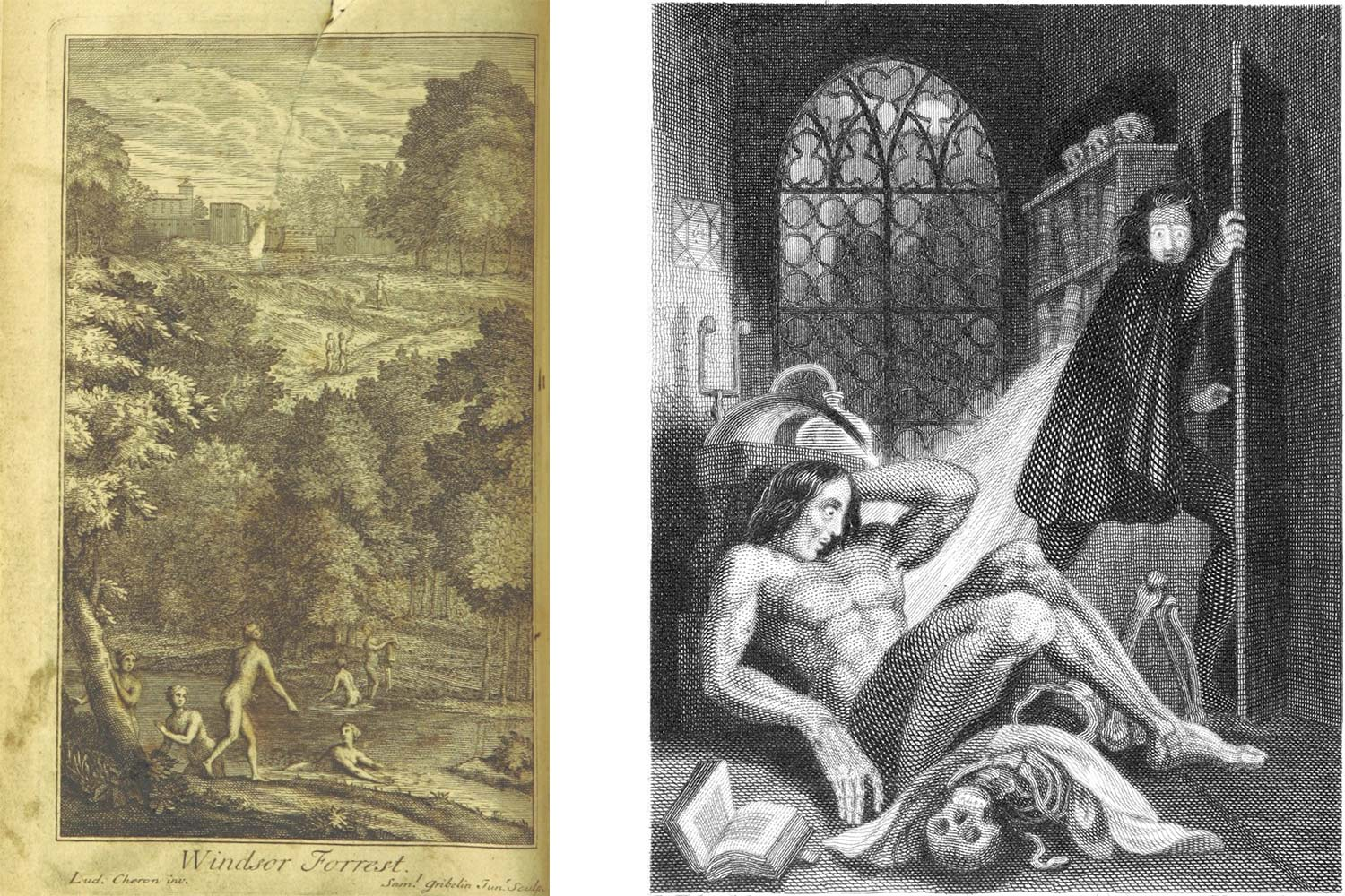 "An engraving of Windsor Forest, the frontispiece to the 1720 edition of the poem by Alexander Pope, and the first depiction of ""the Creature"" by Theodore von Holst, from the 1831 edition of Mary Shelley's ""Frankenstein."""