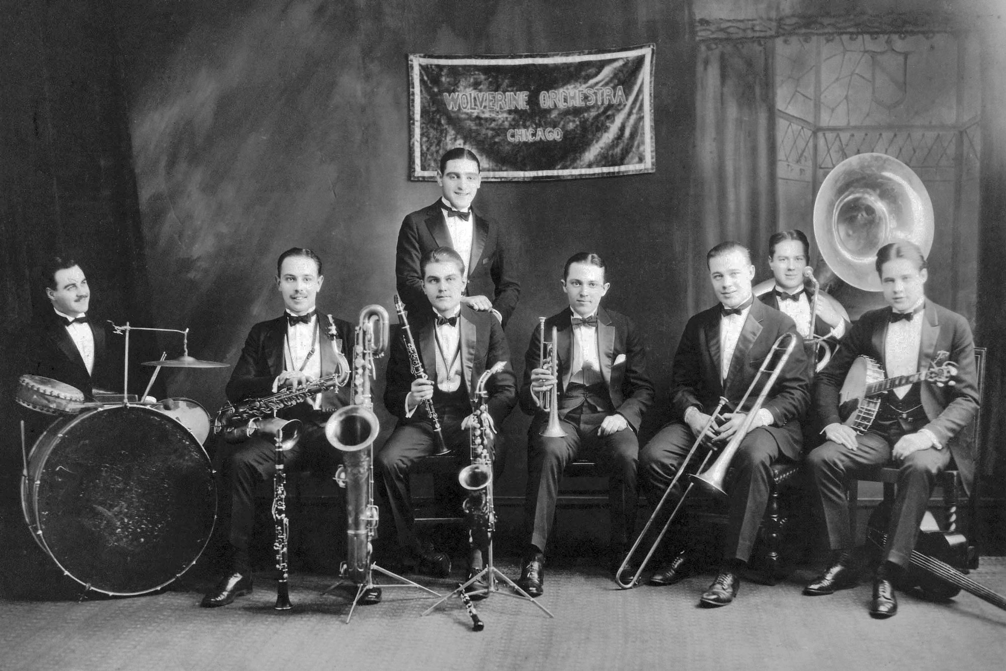 Bix Beiderbecke (center, with trumpet) and the Wolverines at Doyle's Academy of Music in Cincinnati, Ohio, 1924. (Wikipedia Commons)