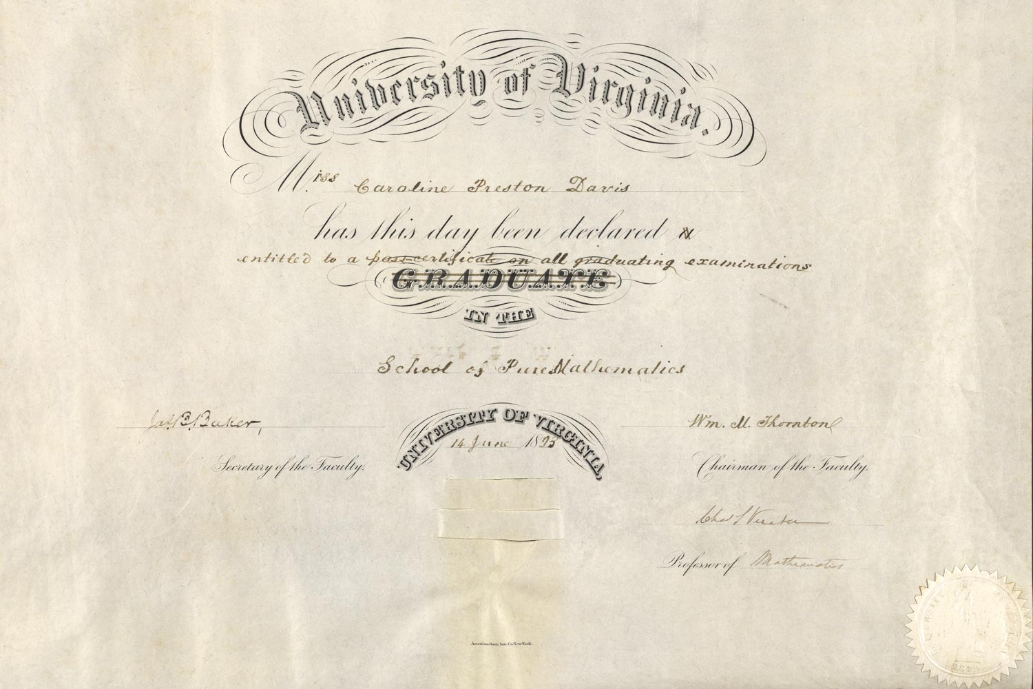 In 1893, the University did not grant Caroline Preston Davis a diploma, though she passed with distinction, but instead issued a certificate in mathematics  – because she was female.