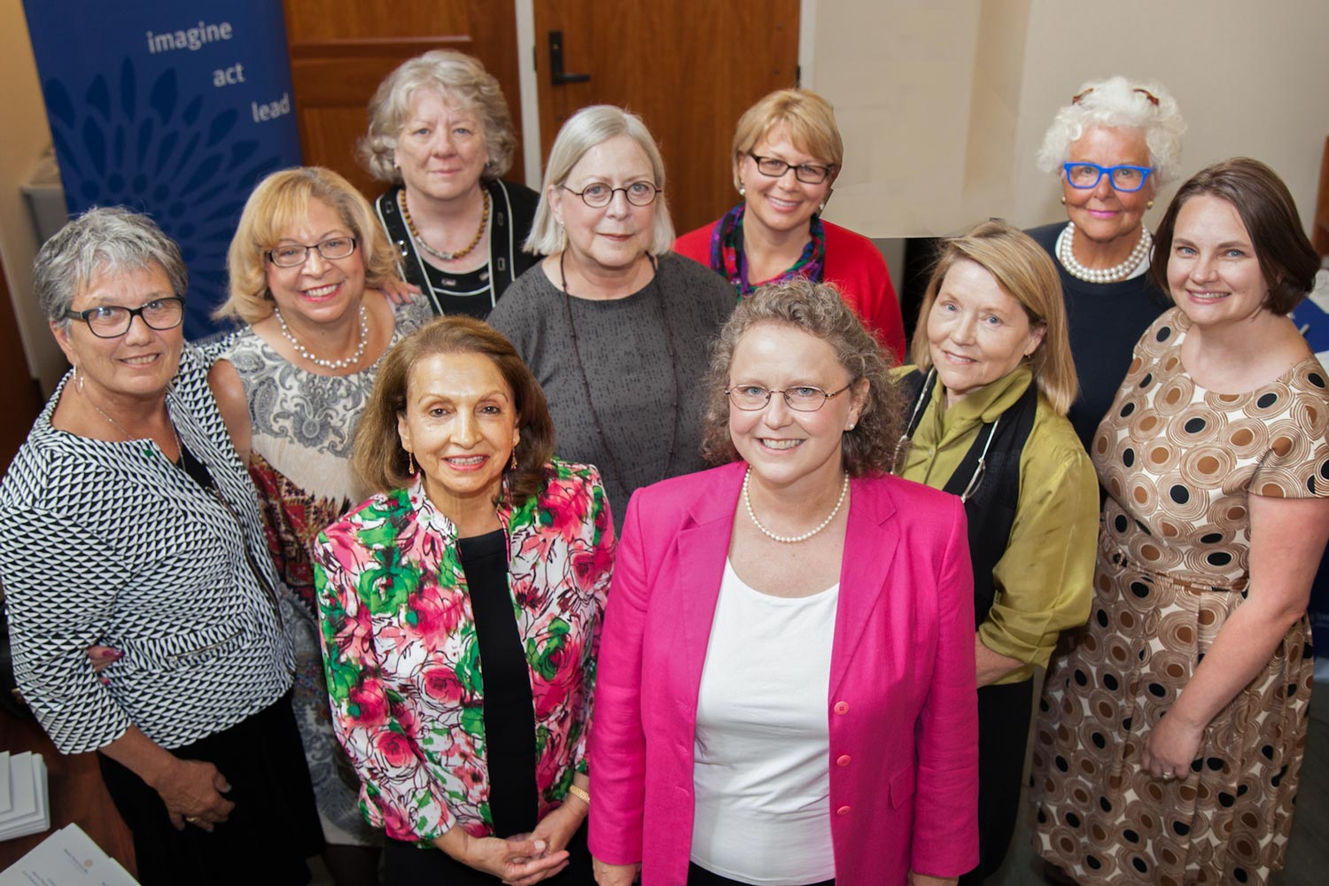 Some of the past 22 Zintl Award winners and Women's Center Director Abigail Palko, far right, gathered in 2016 when engineering professor Pamela Norris (in front with glasses), won the award.