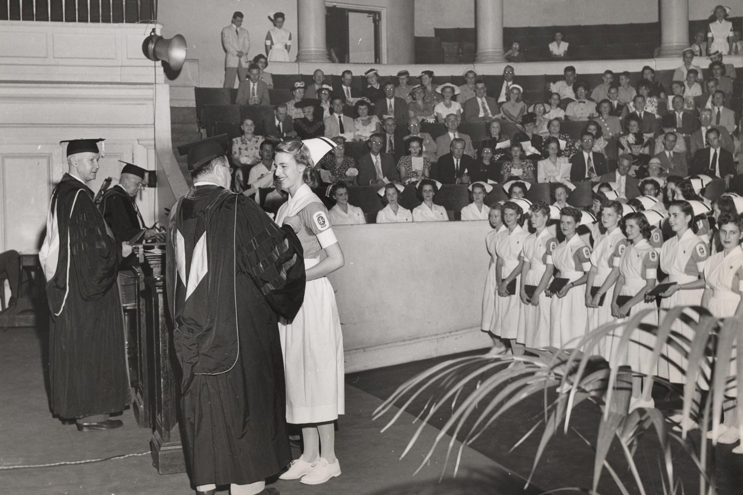 This nursing graduation ceremony was in 1947 during a period of increasing professionalism, although it would be two more years before UVA granted a B.S. in Nursing and nine years before it formally became the School of Nursing.