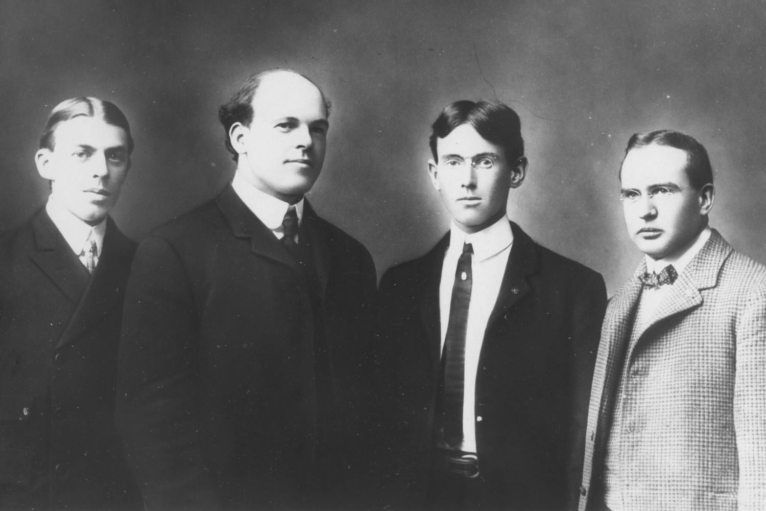 Woodrow Wilson, third from left, was photographed with fellow members of the society. In the fall of 1880 he became the society's president.