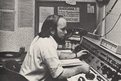 A student DJ mans the airwaves in 1972.