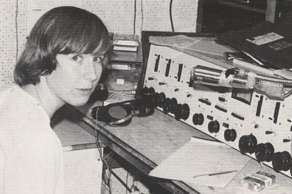 Undergraduate women were fully admitted to UVA in 1970 and some joined the WTJU staff. Here, a female student takes her turn as DJ in 1977.