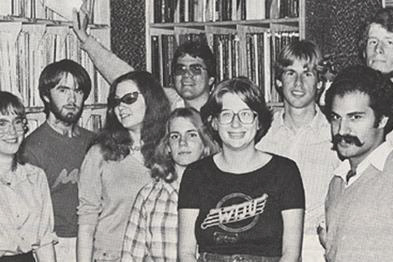 Some of the 1981 WTJU staff.