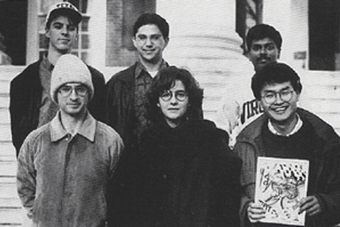 1992 WTJU staff members in front of the Rotunda.
