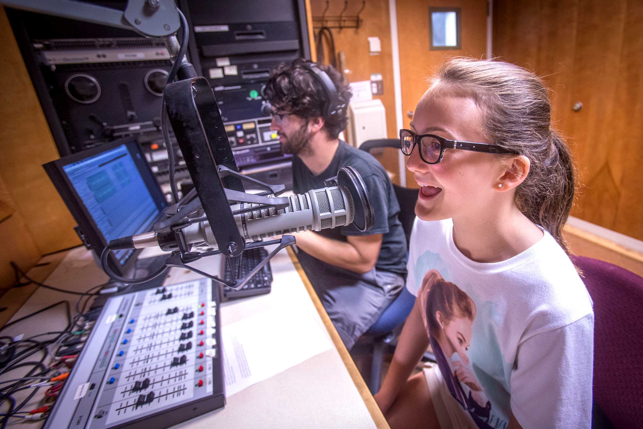 The camp gave students the opportunity to produce and record their own radio shows. (Photo by Sanjay Suchak, University Communications)