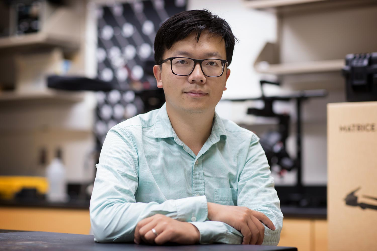 UVA terrestrial ecologist Xi Yang designed the system that monitors sun-induced fluorescence, a byproduct of photosynthesis, to measure crop health.
