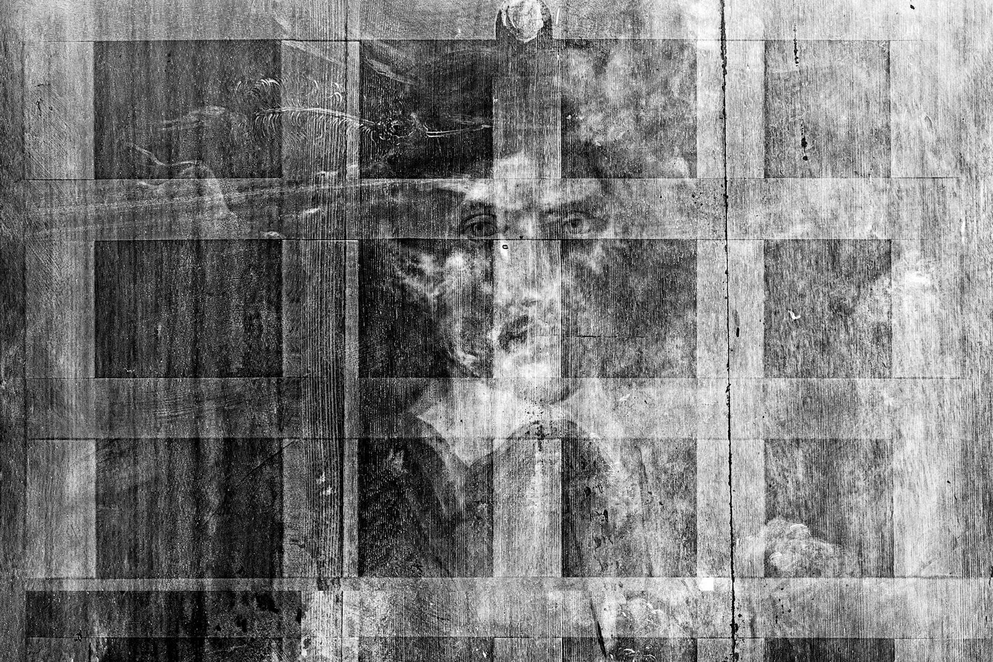 The X-ray, shown above, revealed a second portrait hidden underneath the supposed Rembrandt painting. (Image courtesy of the UVA Imaging Center)