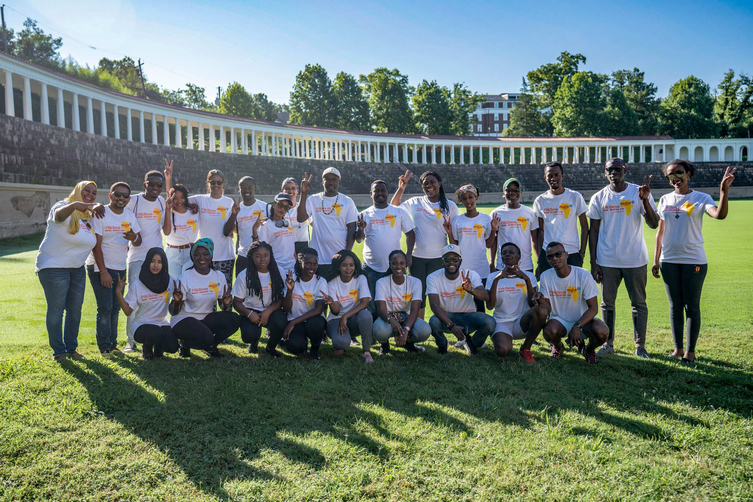 This year's cohort of Mandela Washington Fellows lived in Lambeth Field Apartments. They posed on Lambeth Field, which sits behind the furnished apartments.
